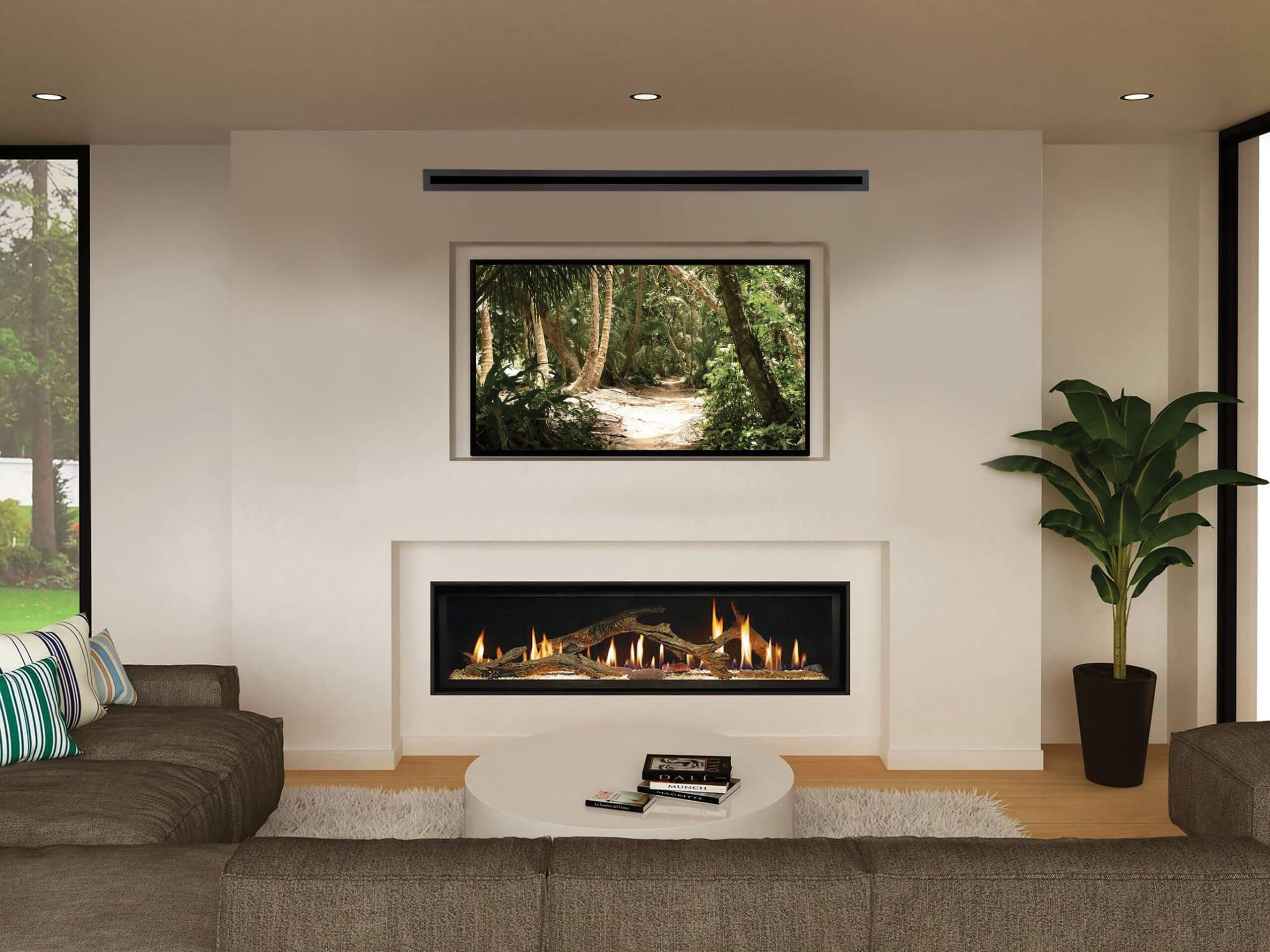 A linear gas fireplace sits beneath a recessed television