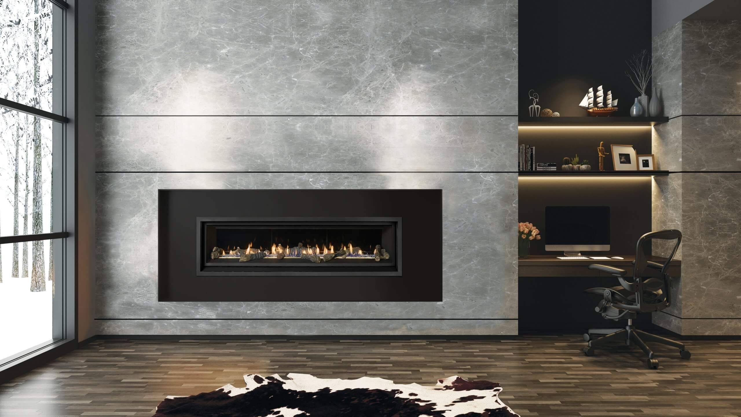 Modern room featuring office, cowhide rug and large linear probuilder gas fireplace by Fireplace Xtrordinair